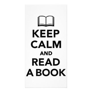 Keep calm and read a book personalised photo card