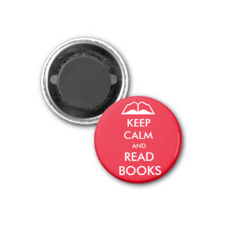 Keep calm and read books 3 cm round magnet