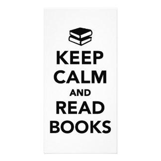 Keep calm and read books customized photo card