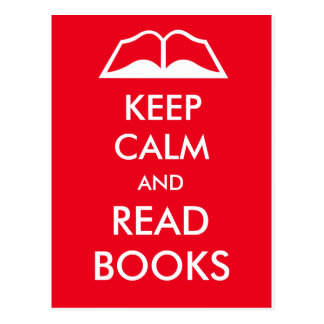 Keep calm and read books postcard
