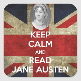 Keep Calm and Read Jane Austen Square Stickers