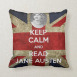 Keep Calm and Read Jane Austen Union Jack Pillow