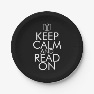 KEEP CALM AND READ ON 7 INCH PAPER PLATE