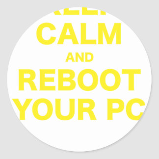 Keep Calm and Reboot your PC Round Sticker