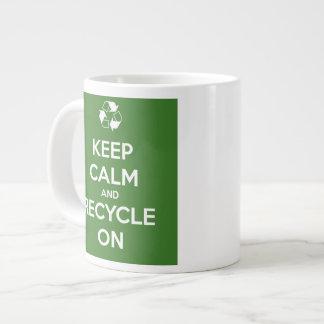 Keep Calm and Recycle On Jumbo Ceramic Mug Jumbo Mug