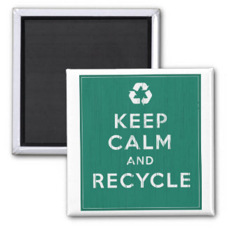 Keep Calm and Recycle Square Magnet