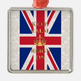 Keep calm and reign on christmas ornament
