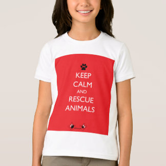 Keep Calm and Rescue Animals Black Paw T-Shirt