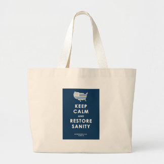 KEEP CALM AND RESTORE SANITY LARGE TOTE BAG