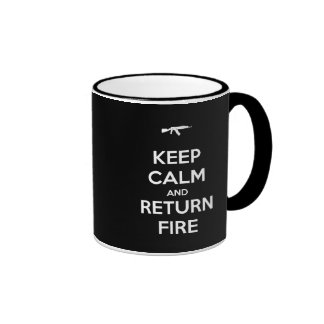 Keep Calm and Return Fire Ringer Coffee Mug