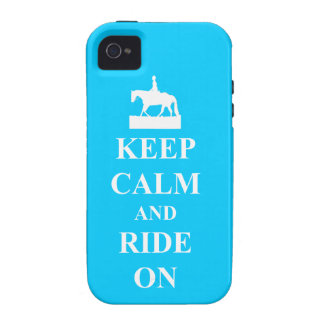 Keep calm and ride on blue case for the iPhone 4