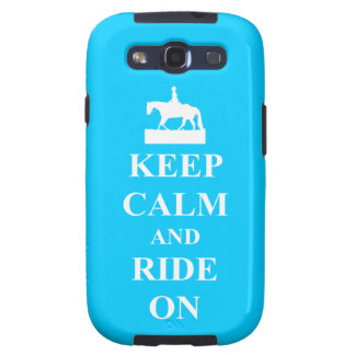 Keep calm and ride on blue galaxy SIII case