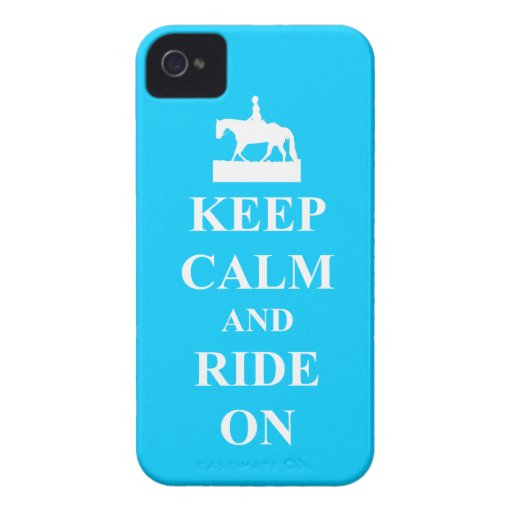 Keep calm and ride on (blue) iPhone 4 case