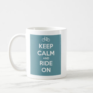 Keep Calm and Ride On Blue Coffee Mug
