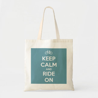Keep Calm and Ride On Blue Reusable Tote Budget Tote Bag
