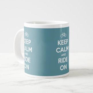 Keep Calm and Ride On Blue Jumbo Mug