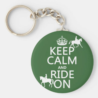 Keep Calm and Ride On - horses, all colours Key Ring