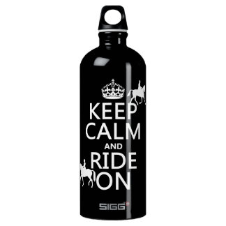 Keep Calm and Ride On - horses, all colours Water Bottle