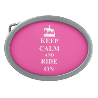 Keep calm and ride on (pink) oval belt buckle