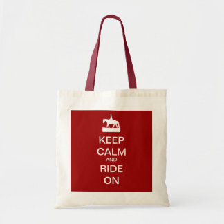 Keep calm and ride on budget tote bag