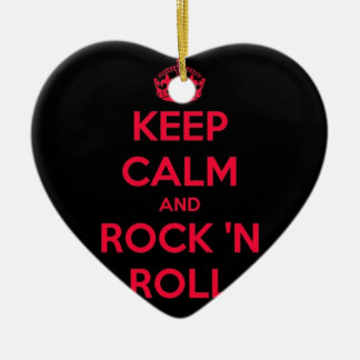 Keep Calm And Rock And Roll Ceramic Heart Decoration