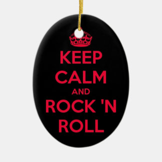 Keep Calm And Rock And Roll Ceramic Oval Decoration