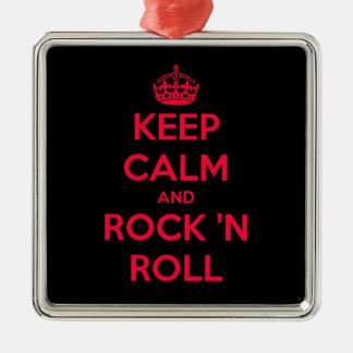 Keep Calm And Rock And Roll Silver-Colored Square Decoration
