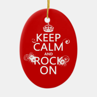 Keep Calm and Rock On (any background color) Ceramic Oval Decoration
