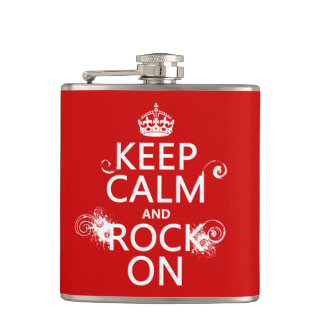 Keep Calm and Rock On (any background color) Hip Flask