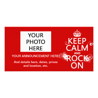 Keep Calm and Rock On (any background color) Personalised Photo Card