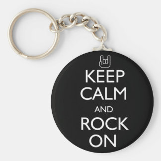 Keep Calm and Rock On Basic Round Button Key Ring