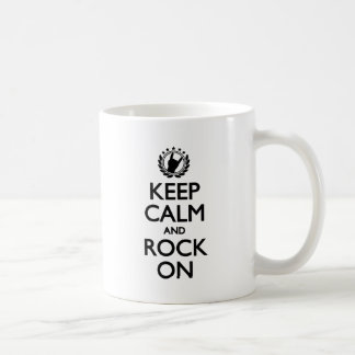 Keep Calm And Rock On black Font Basic White Mug