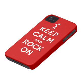 Keep calm and rock on iPhone 4 Case-Mate cases
