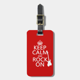Keep Calm and Rock On (guitar)(any color) Luggage Tag
