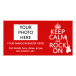 Keep Calm and Rock On (guitar)(any color) Personalized Photo Card