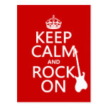 Keep Calm and Rock On (guitar)(any color) Postcards