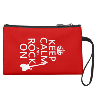Keep Calm and Rock On (guitar)(any color) Suede Wristlet