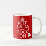Keep Calm and Rock On (guitar)(any colour) Basic White Mug