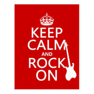 Keep Calm and Rock On (guitar)(any colour) Postcard