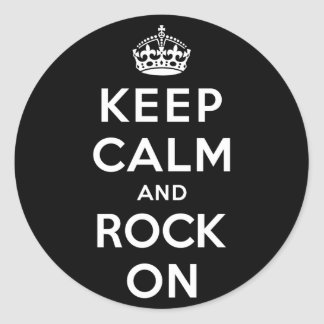 Keep Calm and Rock On Round Sticker