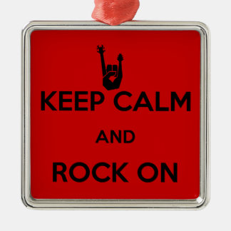 Keep calm and rock on Silver-Colored square decoration