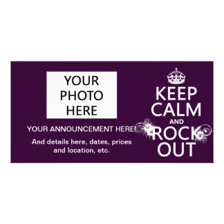 Keep Calm and Rock Out (any background color) Personalized Photo Card