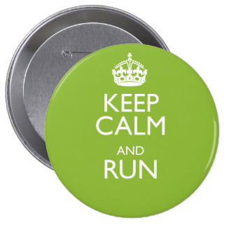 KEEP CALM AND RUN 10 CM ROUND BADGE