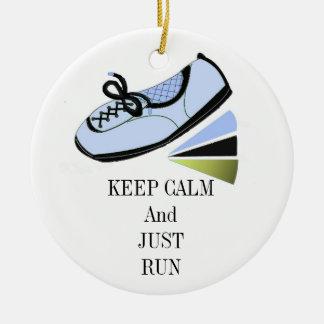 Keep Calm and Run Christmas Ornament