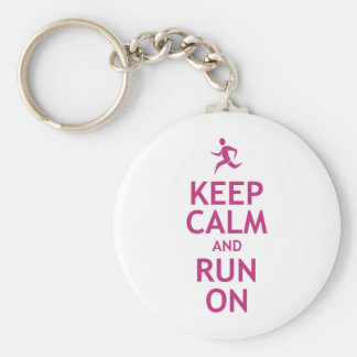 Keep Calm and Run On Basic Round Button Key Ring