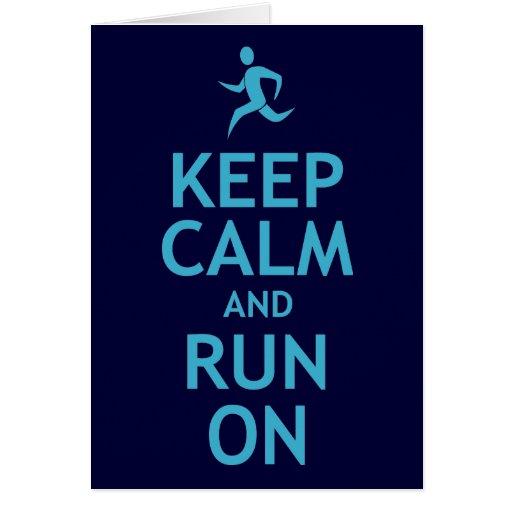 Keep Calm and Run On (blue) Card