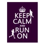 Keep Calm and Run On (customisable colours) Postcard