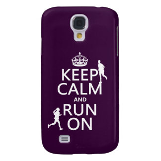 Keep Calm and Run On (customizable colors) Galaxy S4 Case
