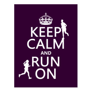 Keep Calm and Run On (customizable colors) Postcard