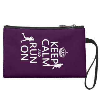 Keep Calm and Run On (customizable colors) Suede Wristlet